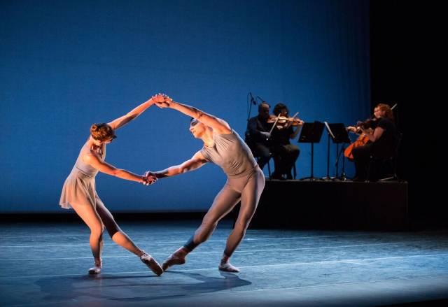 Pennsylvania Ballet Principal Dancer Lauren Fadeley and Corps de Ballet Member Craig Wasserman in Justin Peck's Chutes and Ladders. Photo By: Alexander Iziliaev
