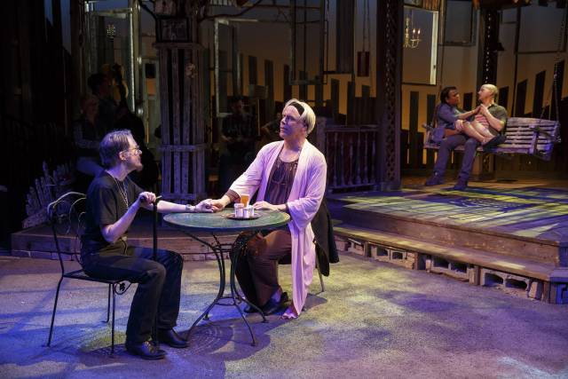 Annette O'Toole, Jeff McCarthy, Aneesh Sheth, and Jeffrey Kuhn in Southern Comfort. Photo credit: Carol Rosegg.