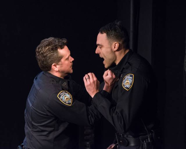 Tom O'Keefe and Migs Govea in DEAD DOG PARK at 59E59 Theaters. Photo by Ashley Garrett