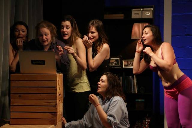 Zoe Sophia Garcia, Lillian Meredith, Taylor Shurte, Tamara Del Rosso, Madison Welterlen, and Gabby Sherba in #liberated. Photo credit: Jefferson White.