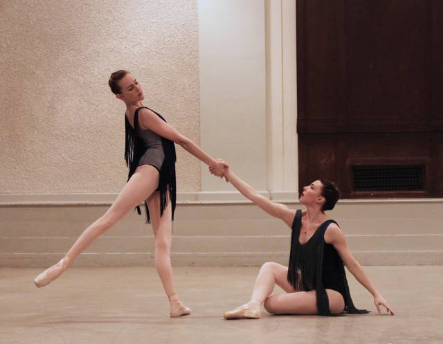 "Amber Neff and Sarah Atkins in ""Djazz"". Photo credit: New Chamber Ballet."