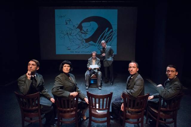 "Alexander Burnett, Valerie Leonard, Christopher Marshall, Christo Grabowski, Alex Draper & Jonathan Tindle in ""No End of Blame."" Photo credit: Stan Barouh."