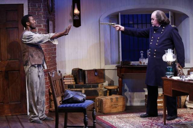 John G. Williams (as Shepard Mallory) and Ames Adamson (as Benjamin Butler) in Richard Strand's BUTLER, directed by Joseph Discher, at 59E59 Theaters. Photo by Carol Rosegg