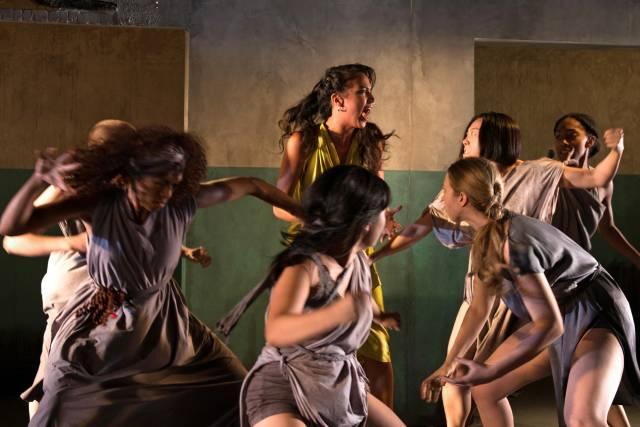 Rebeca Rad (as Helen, center) and chorus in The Trojan Women. Photo credit: Allison Stock