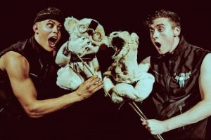 Aaron Heffernan and Eoghan Quinn in BEARS IN SPACE at 59E59 Theaters. Photo by Idil Sukan.