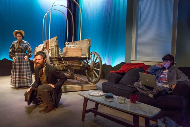 Emily Louise Perkins, Jimmy King, and Liba Vaynberg in Fault Line Theatre's production of Bekah Brunstetter's The Oregon Trail. (© Jeremy Daniel)