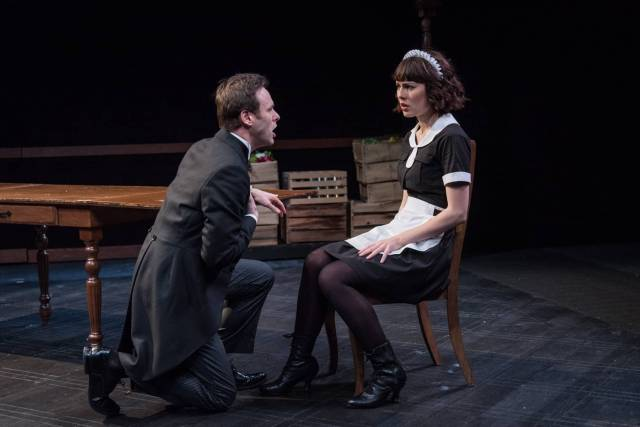 RING TWICE FOR MIRANDA BY ALAN HRUSKA; DIRECTED BY RICK LOMBARDO. FROM LEFT TO RIGHT: GEORGE MERRICK, KATIE KLEIGER. NEW YORK CITY CENTER STAGE II, 131 WEST 55TH STREET, NEW YORK NY; PHOTO CREDIT – RUSS ROWLAND