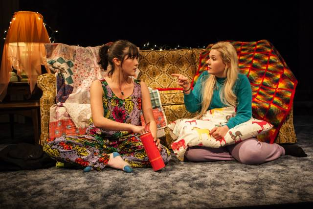"""Isabelle Fuhrman and Abigail Breslin in """"All the Fine Boys,"""" written & directed by Erica Schmidt. This world premiere production by The New Group plays a limited Off-Broadway engagement through March 26 at The Pershing Square Signature Center. PHOTO CREDIT: Monique Carboni."""