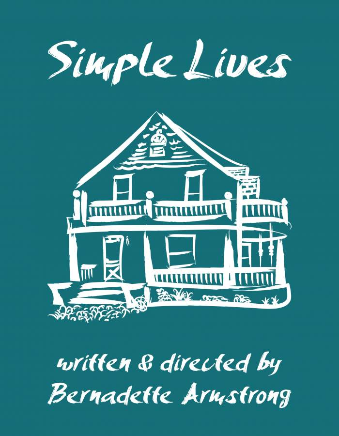 Simple Lives flyer - white house on blue background